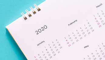 Calendar showing the year 2020