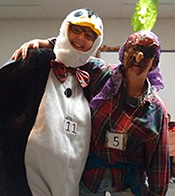 A Penguin and a pirate costumes