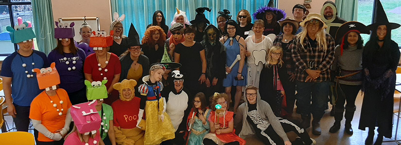 Staff and students dressed up for Halloween