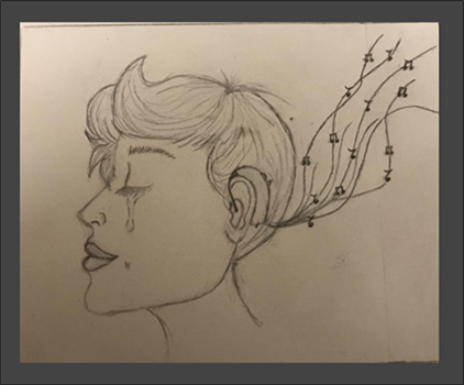 sketch of a woman with hearing aids, listening to music