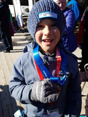 Hayden with his medal